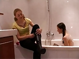 Dutch lesbians have fun in bathroom