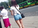 candid polish sexy young girl in shorts