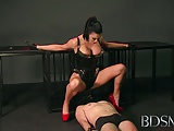 BDSM XXX Mistress treats her sub boy to a blowjob