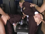 CFNM - clothed stewardess fucked in first class