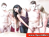 Euro CFNM babes wank dudes off at party