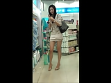 Pretty chinese girl in public