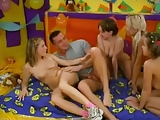 Four Young Teens Service One Very Lucky Guy !