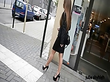 Naughty cumlover Secretary walking in high heels in public