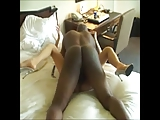 Collared white whore servicing her Black master