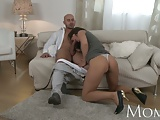 MOM Sophisticated brunette with hairy pussy swallows