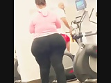 White BBW Pear with a HUGE Fat Culo at the gym