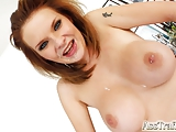 Cute redhead wears cum on face after hard ass fuck