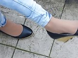 Candid Shoeplay in Nylon Wedges