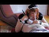 Redhead Gives a French Maid Blowjob