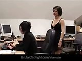 Office catfight between brunettes