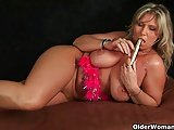 Soccer mom with big boobs masturbates and gets fucked