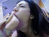 hot dirty cam girl messy dildo deepthroat gag + spit