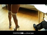 Fantasy HD Slutty Brunette Secretary Sucks and Fucks