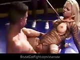 Two cleaning ladies fight in the boxing ring and gets fucked