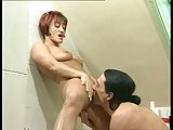 2 women warm her up. he finishes the job